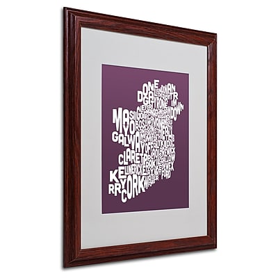 Michael Tompsett 'MULBERRY-Ireland Text Map' Matted Framed - 16x20 Inches - Wood Frame