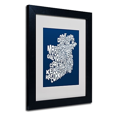 Trademark Fine Art Michael Tompsett 'NAVY-Ireland Text Map' Matted Art Black Frame 11x14 Inches
