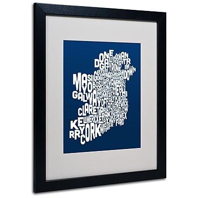 Trademark Fine Art Michael Tompsett 'NAVY-Ireland Text Map' Matted Art Black Frame 16x20 Inches