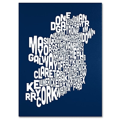 Trademark Fine Art Michael Tompsett 'NAVY-Ireland Text Map' Canvas Art 35x47 Inches