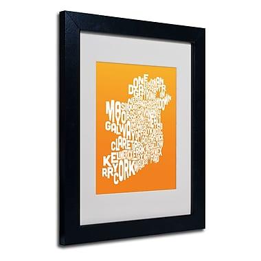 Trademark Fine Art Michael Tompsett 'ORANGE-Ireland Text Map' Matted Art Black Frame 11x14 Inches