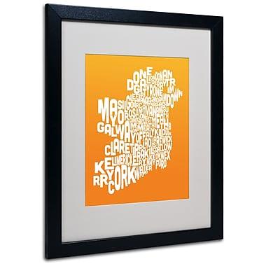Trademark Fine Art Michael Tompsett 'ORANGE-Ireland Text Map' Matted Art Black Frame 16x20 Inches