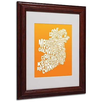 Michael Tompsett 'ORANGE-Ireland Text Map' Matted Framed Art - 11x14 Inches - Wood Frame