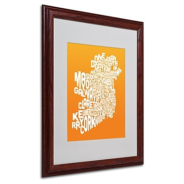 Michael Tompsett 'ORANGE-Ireland Text Map' Matted Framed Art - 16x20 Inches - Wood Frame