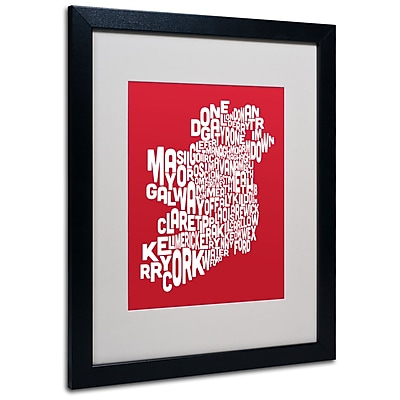 Michael Tompsett 'RED-Ireland Text Map' Matted Framed Art - 11x14 Inches - Wood Frame