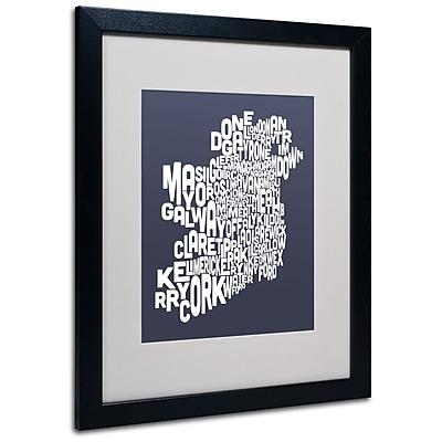 Trademark Fine Art Michael Tompsett 'SLATE-Ireland Text Map' Matted Art Black Frame 16x20 Inches