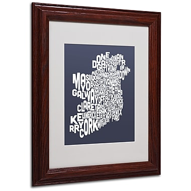Michael Tompsett 'SLATE-Ireland Text Map' Matted Framed Art - 11x14 Inches - Wood Frame