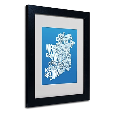 Trademark Fine Art Michael Tompsett 'SUMMER-Ireland Text Map' Matted Art Black Frame 11x14 Inches