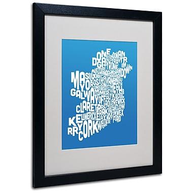 Trademark Fine Art Michael Tompsett 'SUMMER-Ireland Text Map' Matted Art Black Frame 16x20 Inches