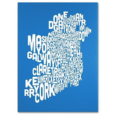 Trademark Fine Art Michael Tompsett 'SUMMER-Ireland Text Map' Canvas Art 35x47 Inches