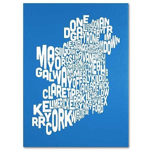 Trademark Fine Art Michael Tompsett 'SUMMER-Ireland Text Map' Canvas Art 14x19 Inches