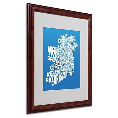 Michael Tompsett 'SUMMER-Ireland Text Map' Matted Framed Art - 16x20 Inches - Wood Frame