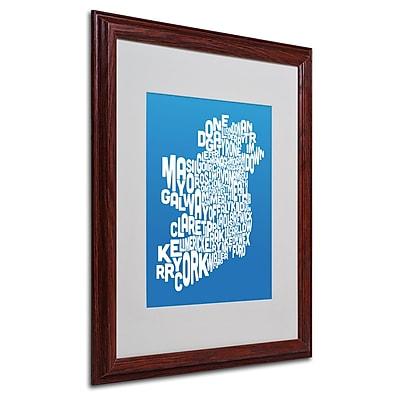 Michael Tompsett 'SUMMER-Ireland Text Map' Matted Framed Art - 16x20 Inches - Wood Frame