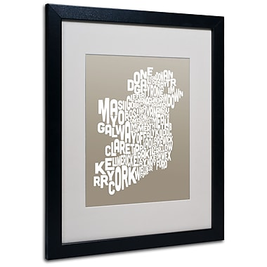 Trademark Fine Art Michael Tompsett 'TAUPE-Ireland Text Map' Matted Art Black Frame 16x20 Inches