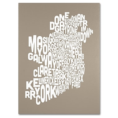 Trademark Fine Art Michael Tompsett 'TAUPE-Ireland Text Map' Matted Art Black Frame 11x14 Inches