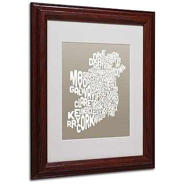 Michael Tompsett 'TAUPE-Ireland Text Map' Matted Framed Art - 11x14 Inches - Wood Frame