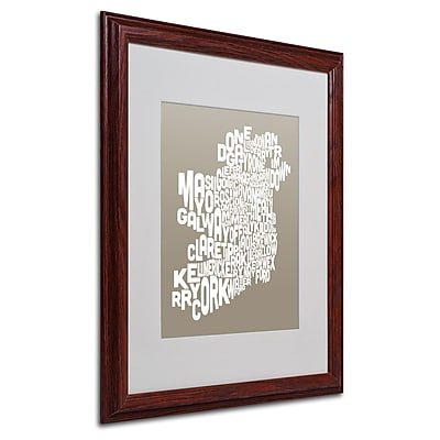 Michael Tompsett 'TAUPE-Ireland Text Map' Matted Framed Art - 16x20 Inches - Wood Frame