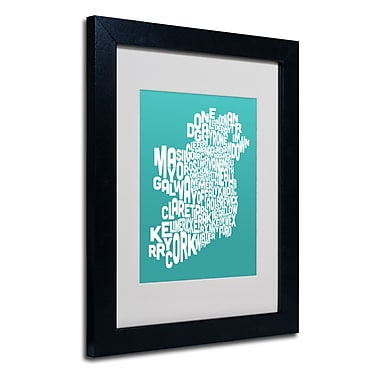 Trademark Fine Art Michael Tompsett 'TURQOISE-Ireland Text Map' Matted Black Frame 11x14 Inches