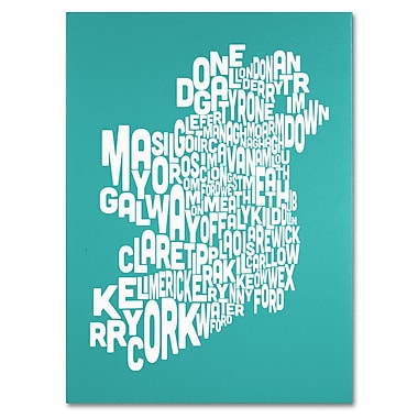 Trademark Fine Art Michael Tompsett 'TURQOISE-Ireland Text Map' Canvas Art 18x24 Inches