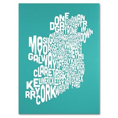 Trademark Fine Art Michael Tompsett 'TURQOISE-Ireland Text Map' Canvas Art 14x19 Inches