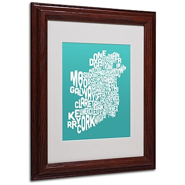 Michael Tompsett 'TURQOISE-Ireland Text Map' Matted Framed - 11x14 Inches - Wood Frame