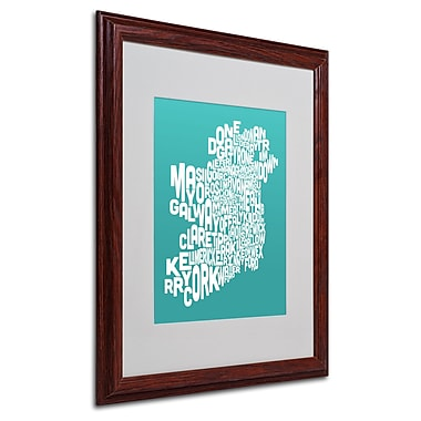 Michael Tompsett 'TURQOISE-Ireland Text Map' Matted Framed - 16x20 Inches - Wood Frame