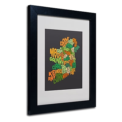 Trademark Fine Art Michael Tompsett 'Ireland Text Map 6' Matted Art Black Frame 11x14 Inches