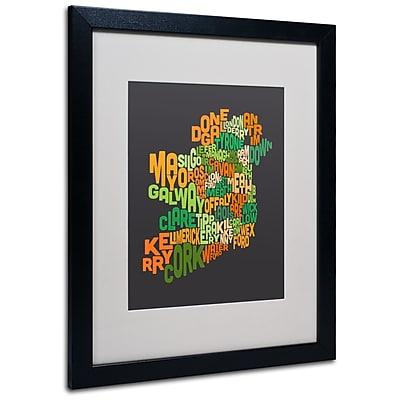 Trademark Fine Art Michael Tompsett 'Ireland Text Map 6' Matted Art Black Frame 16x20 Inches