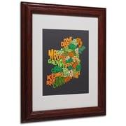 Michael Tompsett 'Ireland Text Map 6' Matted Framed Art - 11x14 Inches - Wood Frame