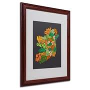 Michael Tompsett 'Ireland Text Map 6' Matted Framed Art - 16x20 Inches - Wood Frame