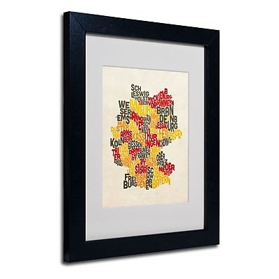 Trademark Fine Art Michael Tompsett 'Germany Region Text Map' Matted Art Black Frame 11x14 Inches