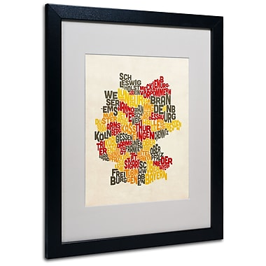 Trademark Fine Art Michael Tompsett 'Germany Region Text Map' Matted Art Black Frame 16x20 Inches