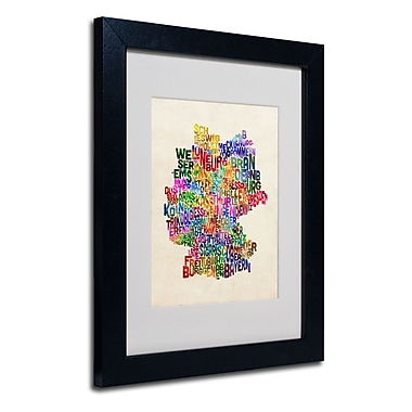 Trademark Fine Art Michael Tompsett 'Germany Region Text Map 2' Matted Black Frame 11x14 Inches
