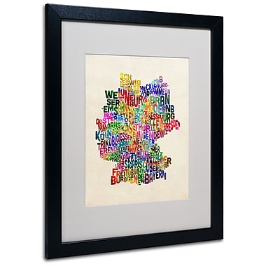 Trademark Fine Art Michael Tompsett 'Germany Region Text Map 2' Matted Black Frame 16x20 Inches