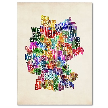 Trademark Fine Art Michael Tompsett 'Germany Region Text Map 2' Canvas Art 14x19 Inches