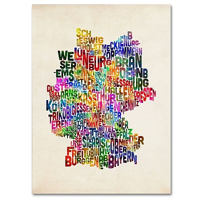 Trademark Fine Art Michael Tompsett 'Germany Region Text Map 2' Canvas Art 22x32 Inches