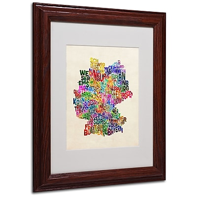Michael Tompsett 'Germany Region Text Map 2' Matted Framed - 11x14 Inches - Wood Frame