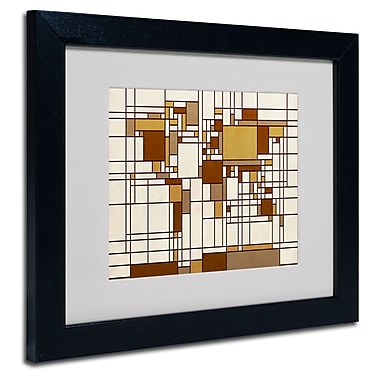 Trademark Fine Art Michael Tompsett 'Mondrian World Map' Matted Art Black Frame 16x20 Inches,MT0273-B1620MF