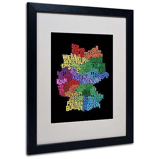 Trademark Fine Art Michael Tompsett 'Germany Region Text Map 3' Matted Black Frame 16x20 Inches