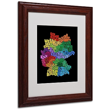 Michael Tompsett 'Germany Region Text Map 3' Matted Framed - 11x14 Inches - Wood Frame