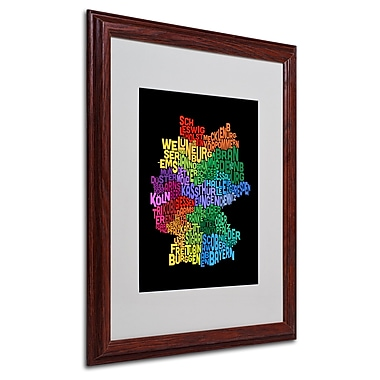 Michael Tompsett 'Germany Region Text Map 3' Matted Framed - 16x20 Inches - Wood Frame