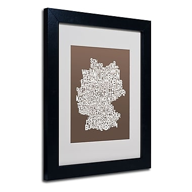 Trademark Fine Art Michael Tompsett 'COFFEE-Germany Regions Map' Matted Black Frame 11x14 Inches