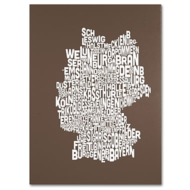 Trademark Fine Art Michael Tompsett 'COFFEE-Germany Regions Map' Canvas Art 30x47 Inches