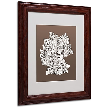 Michael Tompsett 'COFFEE-Germany Regions Map' Matted Framed - 11x14 Inches - Wood Frame