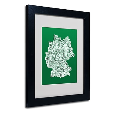 Trademark Fine Art Michael Tompsett 'FOREST-Germany Regions Map' Matted Black Frame 11x14 Inches