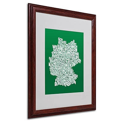 Michael Tompsett 'FOREST-Germany Regions Map' Matted Framed - 16x20 Inches - Wood Frame