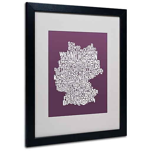 Trademark Fine Art Michael Tompsett 'MULBERRY-Germany Regions Map' Black Frame 16x20 Inches