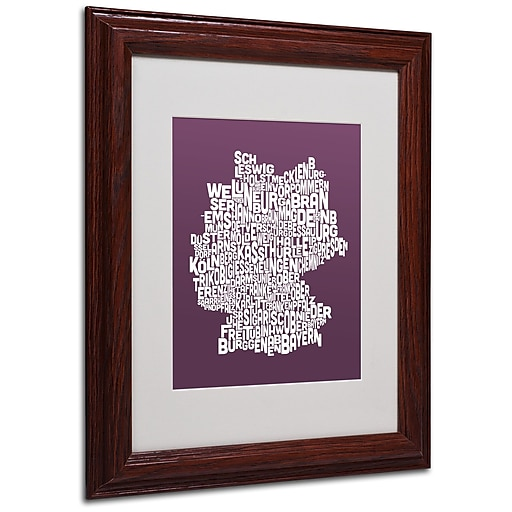 Michael Tompsett 'MULBERRY-Germany Regions Map' Framed - 11x14 Inches - Wood Frame