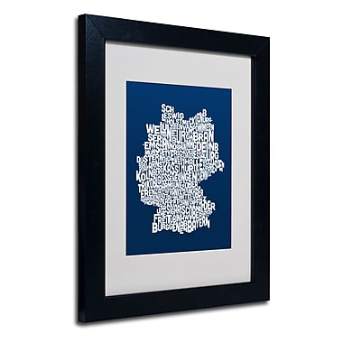 Trademark Fine Art Michael Tompsett 'NAVY-Germany Regions Map' Matted Black Frame 11x14 Inches