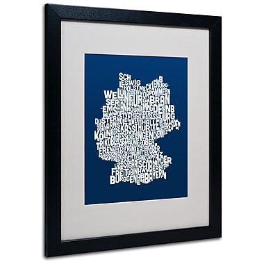 Trademark Fine Art Michael Tompsett 'NAVY-Germany Regions Map' Matted Black Frame 16x20 Inches